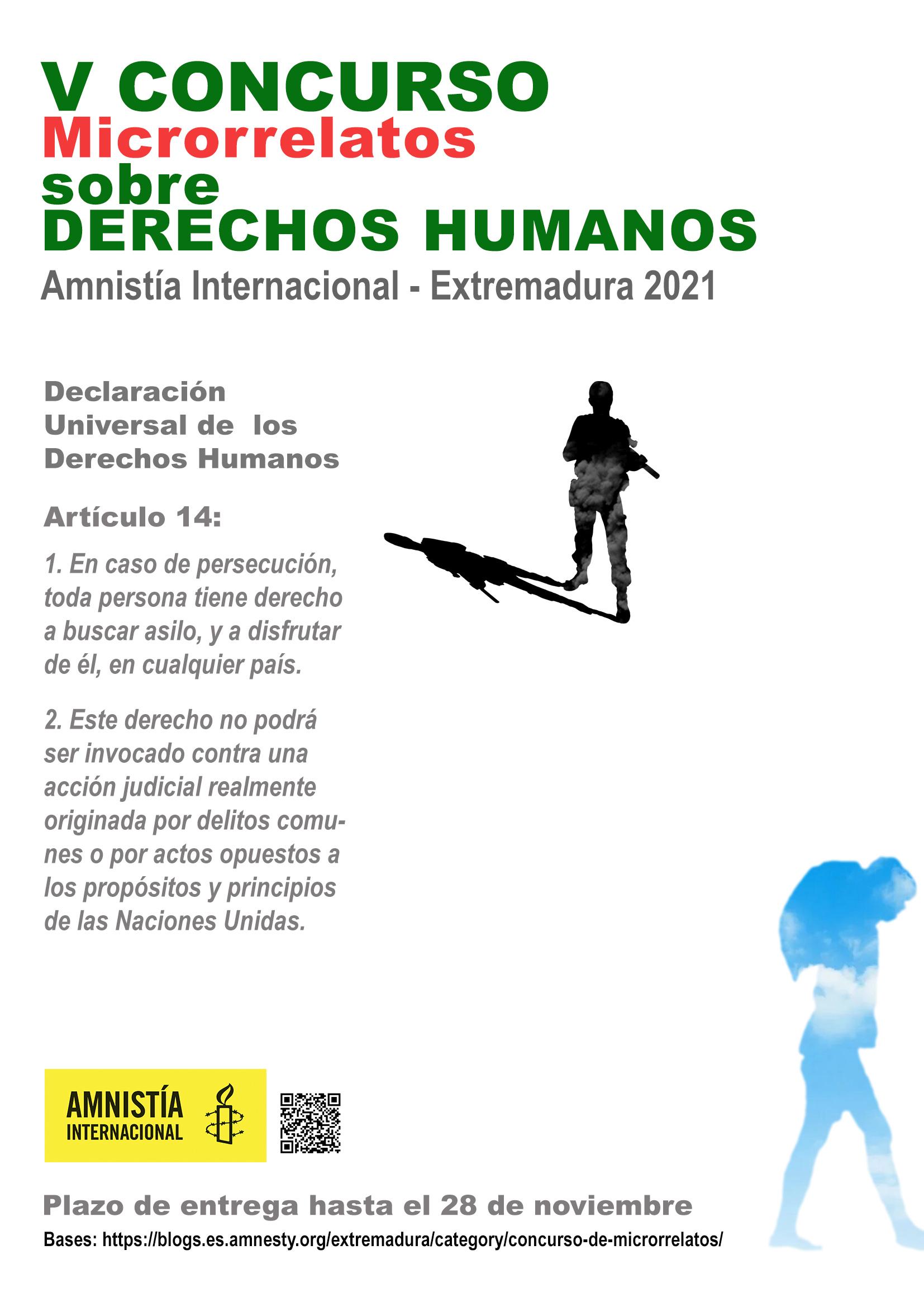 V CONCURSO DE MICRORRELATOS SOBRE DERECHOS HUMANOS DE  AMNISTÍA INTERNACIONAL EXTREMADURA (2021)