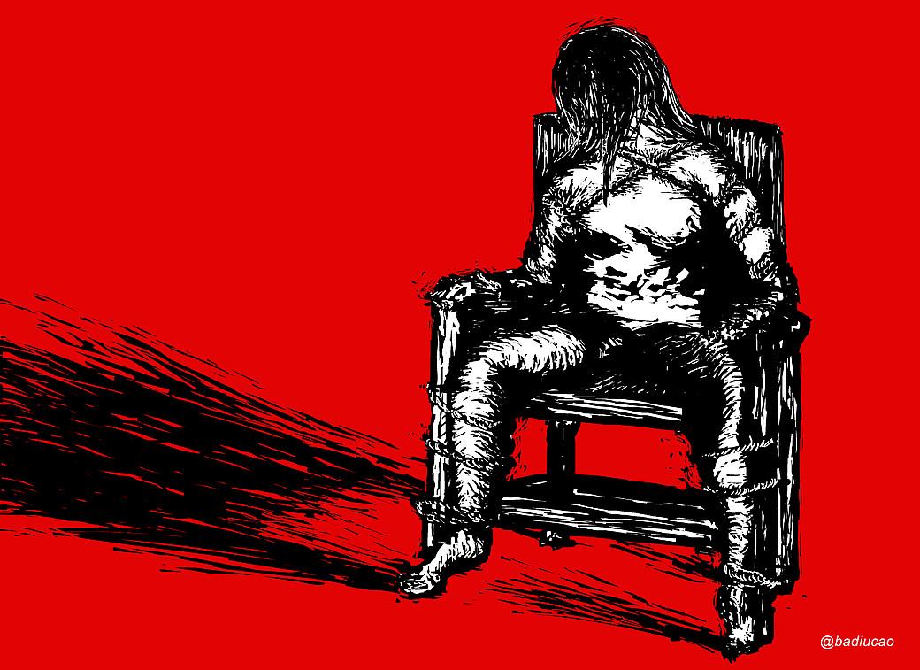 Ilustración sobre la torutura en China. Se ve una persona sentada y maniatada a una silla con un fondo rojo sangre