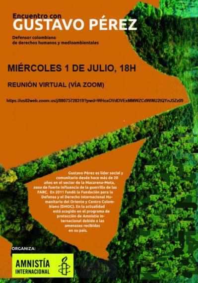 Cartel encuentro 1 julio con Gustavo Pérez