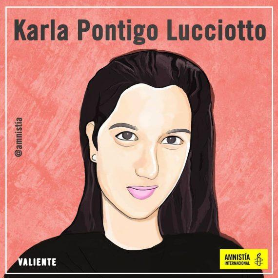 Ilustración del rostro de Karla Postigo