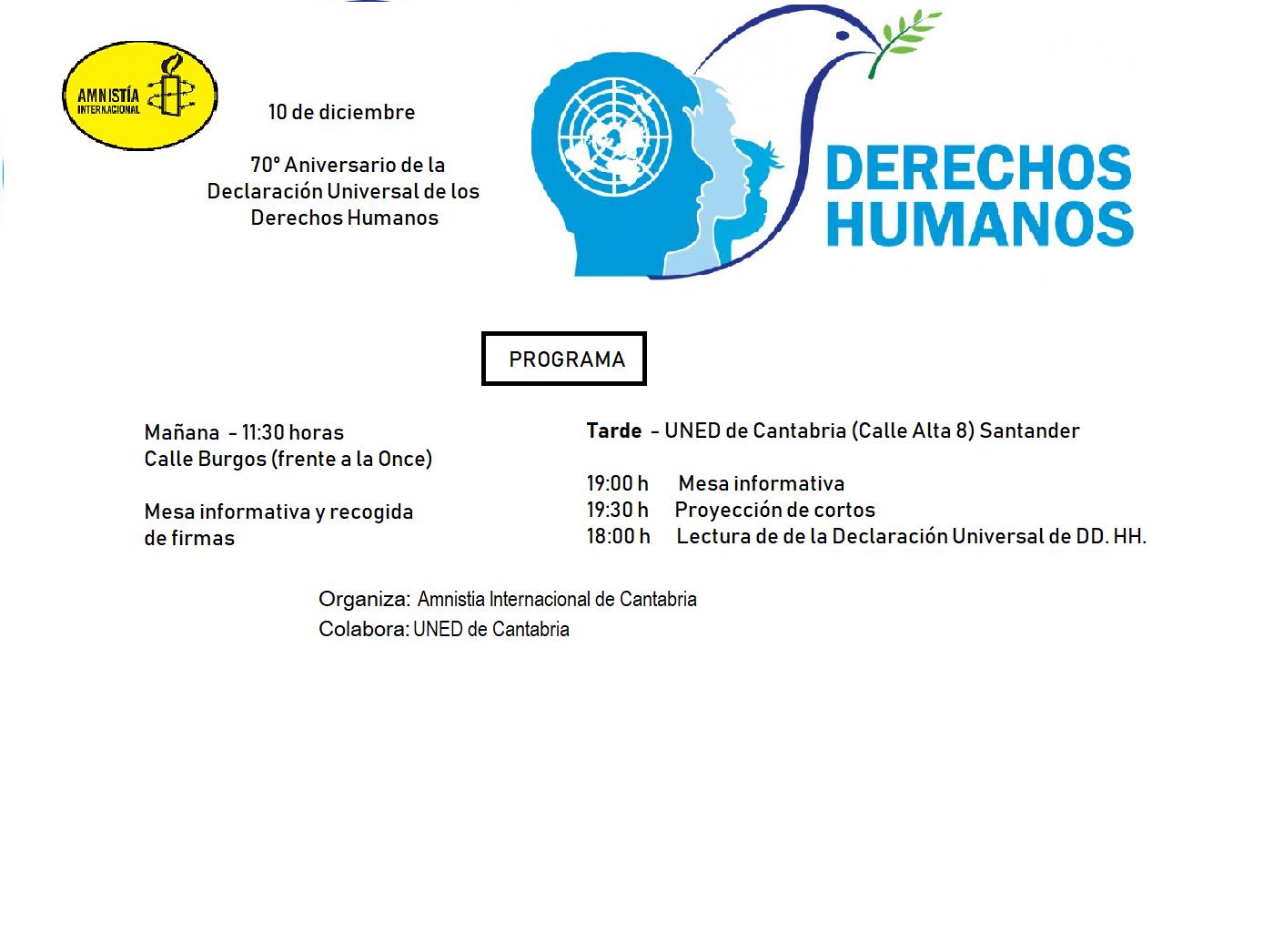 10 de diciembre- 70 Aniversario de la Declaración Universal de los Derechos Humanos