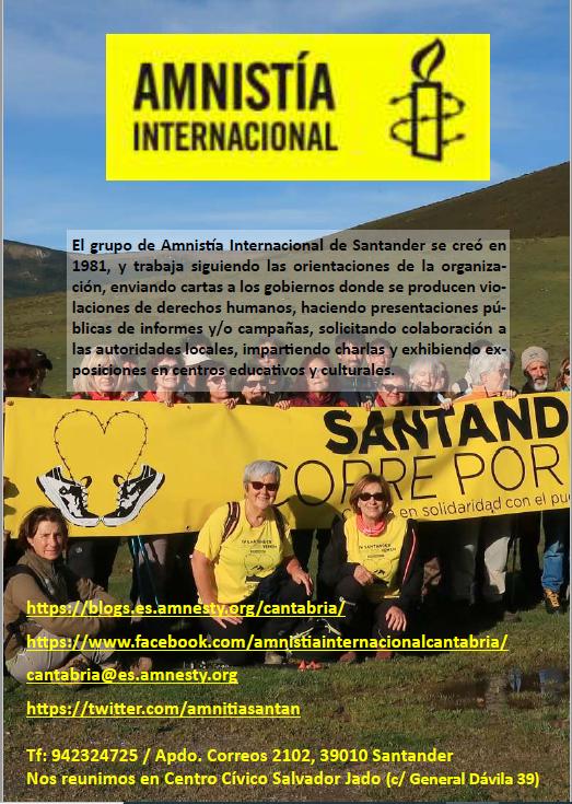 Aquí puedes conocer todas las actividades realizadas por el grupo de Amnistía Internacional de Santander