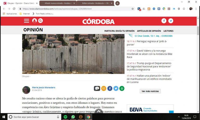 Artículo de María Jesús Monedero en Diario Córdoba