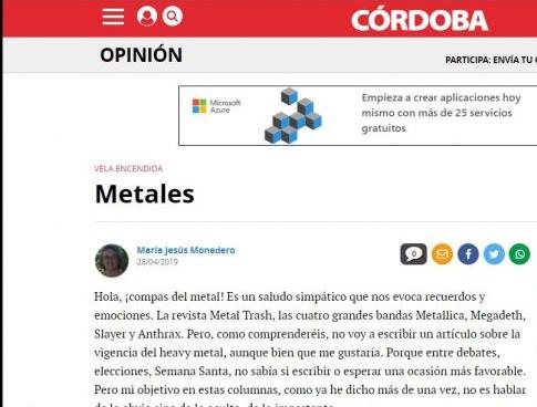 Metales-Artículo de María Jesús Monedero en Diario Córdoba