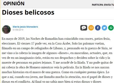 Artículo de opinión de María Jesús Monedero en Diario Córdoba